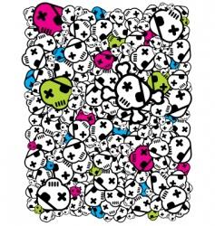 funky skulls vector image