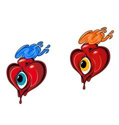 retro tattoo hearts vector image vector image