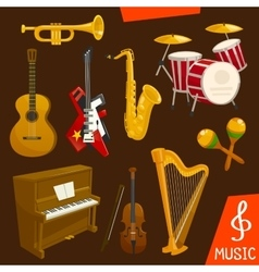 Wind and strings musical instruments vector image