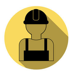 worker sign flat black icon with flat vector image