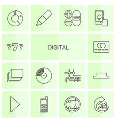 14 digital icons vector