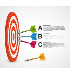 Abstract infographic template target with darts vector