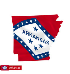 Arkansas state map with waving flag us state vector