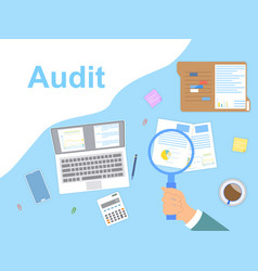Audit and analysis concept with magnifying glass vector
