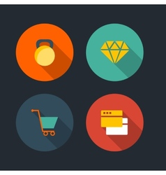 Basic Flat icon set vector image