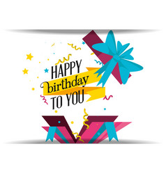 birthday gift with bow icon vector image