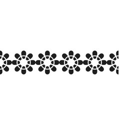 Border of black flowers for decoration vector