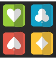 Bright playing cards suits icons set in clean vector image