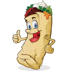 Burrito character thumbs up vector