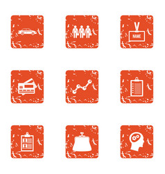 Business id icons set grunge style vector