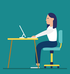 business woman at the desk is working on the vector image