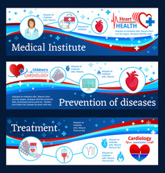 Cardiology clinic banners with doctor and heart vector