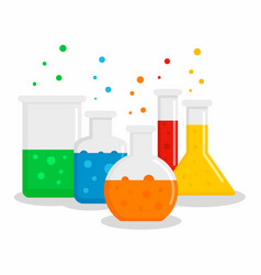 chemical flask set concept background flat style vector image