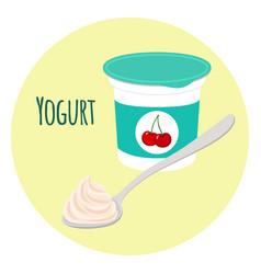 cherry yogurt healthy milk product in plastic vector image