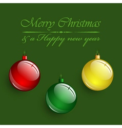 Christmas colorful balls hanging on red background vector image