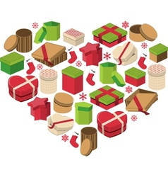 Christmas heart made of gift boxes vector