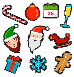 Christmas icon patch set of holiday decoration vector