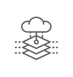 cloud with artificial intelligence server vector image