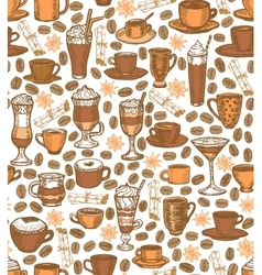 coffee background with cups and cocktails vector image