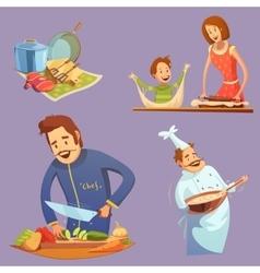 Cooking Retro Cartoon Icon Set vector image