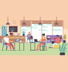 coworking people talking and working at computers vector image