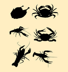 crabs lobster turkey food silhouette vector image