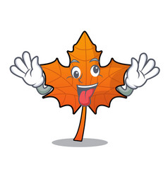 Crazy red maple leaf mascot cartoon vector
