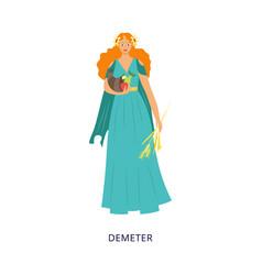 Demeter greek goddess olympian pantheon flat vector