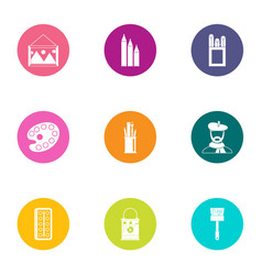 depict icons set flat style vector image