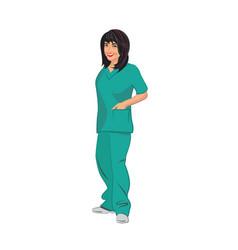 Female asian medical technician wearing green vector