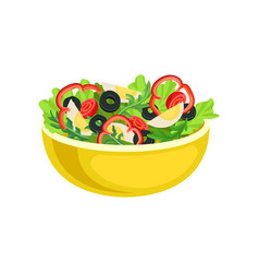 flat icon of yellow bowl with tasty salad vector image