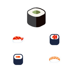 flat icon sushi set of gourmet salmon rolls maki vector image