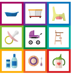 flat kid set of bathtub child chair playground vector image