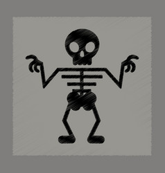 Flat shading style icon halloween skeleton vector
