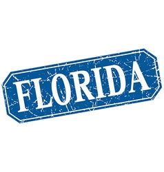 Florida blue square grunge retro style sign vector