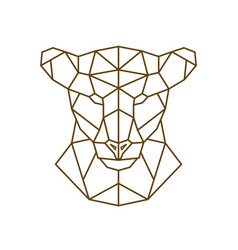 Geometric head of a lioness wild animal vector