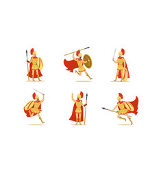 gladiators holding swords set fighting vector image