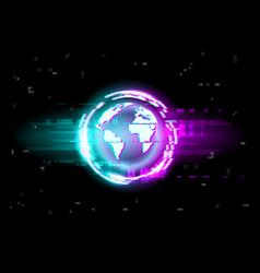 glitch globe map background digital noise pixels vector image