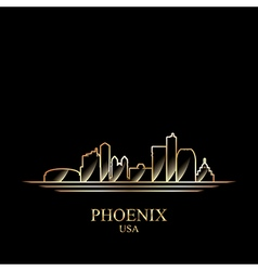 gold silhouette phoenix on black background vector image