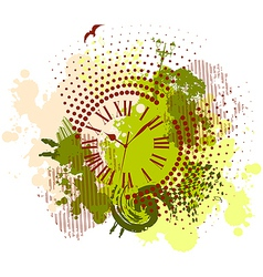 Grunge abstract background with antique clocks vector