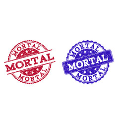 Grunge scratched mortal stamp seals vector