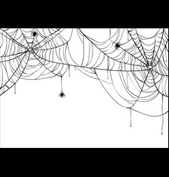 Halloween spiderweb background with spiders vector