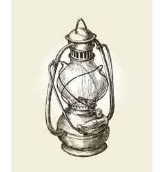Hand-drawn vintage kerosene lamp Sketch oil vector