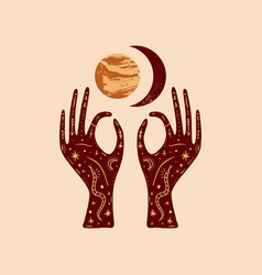 Hands hold venus and crescent moon boho style art vector