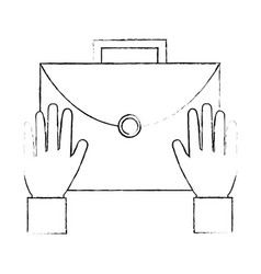 hands with portfolio briefcase isolated icon vector image