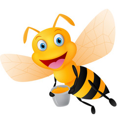 Happy bee cartoon with honey vector