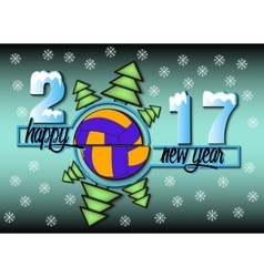 Happy new year 2017 and Volleyball vector