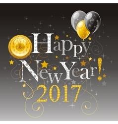 Happy new year 2017 silver golden logo icon vector