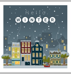 Hello winter cityscape background 2 vector