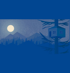house on the tree night forest and the mountains vector image